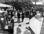 Formal gathering at the starboard broadside of the AVP-52 USS SHELIKOF (Seaplane Tender),...