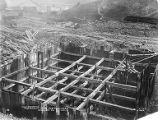 Wooden beam structure in pier foundation, Tunkhannock Creek viaduct construction, Nicholson,...