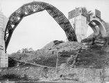 Metal skeleton of an arch, Tunkhannock Creek viaduct construction, Nicholson, Pennsylvania,...