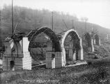 Four arches in progress, Martin's Creek viaduct construction, Kingsley, Pennsylvania, August 19,...