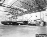 Front view of Curtiss H-16 flying boat hull in factory, circa 1917-1919