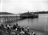 Passenger launch ARROW, possibly at wharf in Lake Washington, ca. 1909
