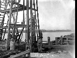 Spokane, Portland and Seattle Railway bridge construction over the Columbia River, April 22, 1907