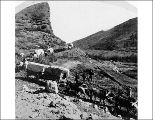 Wagon train deployed for the construction of the Union Pacific Railroad, Echo Canyon, Utah, 1867