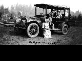 Women on an outing with automobile, August 13, 1908