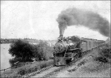 Northern Pacific Railroad North Coast Limited train along the Columbia River six miles east of...