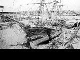 Sailing vessel ADAMS in dry dock, San Francisco Bay, 1903