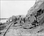 Northern Pacific Railway work crew, building grade and laying track in western North Dakota, 1880