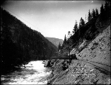 Great Northern Railway train and tracks through Cascade Mountains near Leavenworth, n.d.