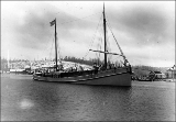 Passenger-carrying schooner DIRIGO leaving Hoquiam under tow for San Francisco for the...