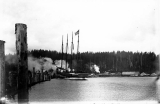 Launch of the schooner DEFIANCE, Hoquiam River, 1897
