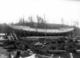 Schooner DEFIANCE under construction at Hoquiam, 1897