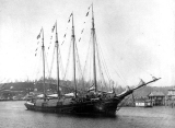 Schooner DEFIANCE loaded with lumber for departure on her maiden voyage, Hoquiam River, 1897