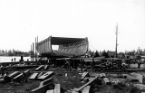 Schooner DEFIANCE in under construction at Hoquiam, 1897