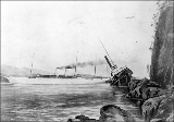 Drawing of the wreck of the steamboat BEAVER near Prospect Point, British Columbia, 1888