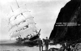 Wreck of the square rigger GLENESSLIN at Mt. Neah-Kah-Nie, Oregon coast, 1913