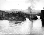 Steamboat J.P. LIGHT in Five Finger Rapids, Yukon River, ca. 1898