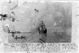 Illustration of the sailing vessel DISCOVERY in Puget Sound