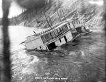 Wreck of the stern wheel steamboat DOMVILLE in the Thirty Mile River, n.d.