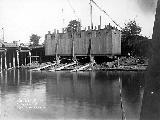 Spokane, Portland and Seattle Railway bridge construction over the Columbia River, September 19,...