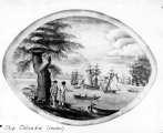 Illustration of Captian Gray ashore at Whampoa showing the ship COLUMBIA, January 1793