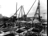 Spokane, Portland and Seattle Railway bridge construction over the Columbia River, February 26,...