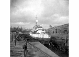 Battleship U.S.S. OREGON in drydock, n.d.
