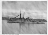 Battleship OREGON anchored in the Seattle harbor, ca. 1895-1898