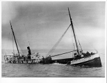 Steam schooner TAMALPAIS being towed, Grays Harbor,  n.d.