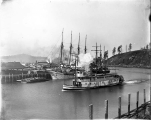 Stern wheel steamboat T.C. REED and schooner W.J. PATTERSON, Hoquiam River, ca. 1900