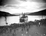 Steamboat JOHN C. BARR nearing a boat landing, probably on the Yukon River, n.d.