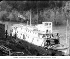 Sternwheeler MASCOT docked on river, probably vicinity of lower Columbia River, ca. 1900