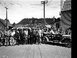 Automobiles leaving Hazelton, British Columbia, August 1911
