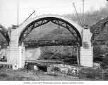 Partially completed arch  Martin's Creek viaduct construction, Kingsley, Pennsylvania, October 22,...