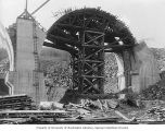 Wooden structure in the shape of an arch between two piers, Martin's Creek viaduct construction,...
