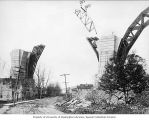 Piers and partially completed arch over town street, Tunkhannock Creek viaduct construction,...