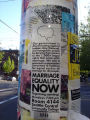 Marriage equality now meeting sign on pole