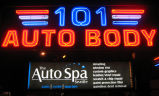 101 Auto Body sign, medium shot