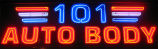 101 Auto Body sign, detail of neon