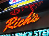 Rich's Upholstery sign, detail of neon