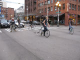 Critical Mass participants corking at 1st and Pine in downtown Seattle