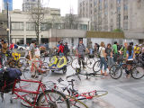 Critical Mass participants gathering at about 5:30PM in Westlake Center