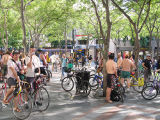 Critical Mass assembling at Westlake Park, Seattle.  Notice the photographer near the left edge of...
