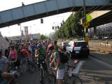 "Critical Mass ""massing up"" on Alaskan Way, by the Ferry Terminal"