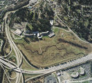 Aerial view of the wetlands before restoration