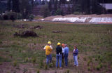 Wetlands during restoration, new floodplain with recent planting and hummocks made from woody...