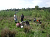 Professor Warren Gold talking with students from UW Bothell ecological methods class (BES 316)...