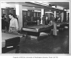 Students playing pool in Husky Union Building (HUB), University of Washington, ca. 1950