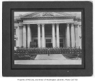 Military cadets outside the Oregon Building built for the 1909 Alaska Yukon Pacific Exposition,...