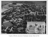 Aerial of campus taken from the north, with inset of Territorial University building, University...